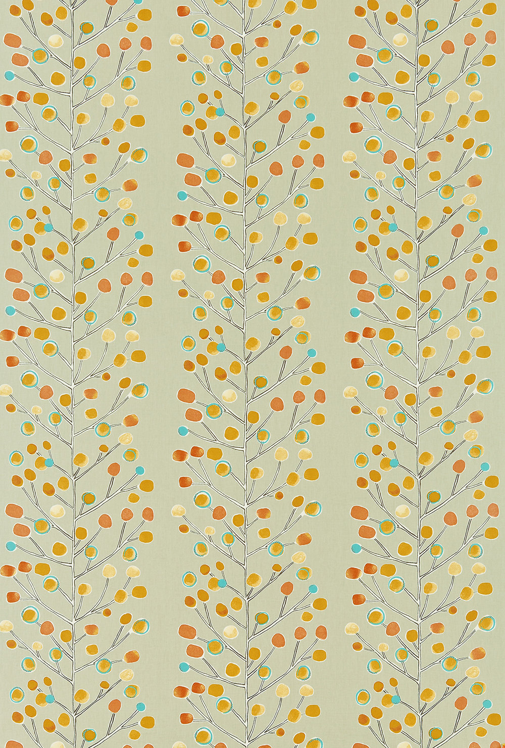 Berry Tree by Scion - Orange / Blue / Yellow : Wallpaper Direct