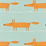 Scion Mr Fox Sky / Orange Fabric