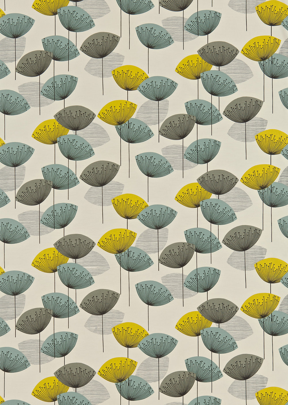 Dandelion Clocks By Sanderson Blue Yellow Fabric