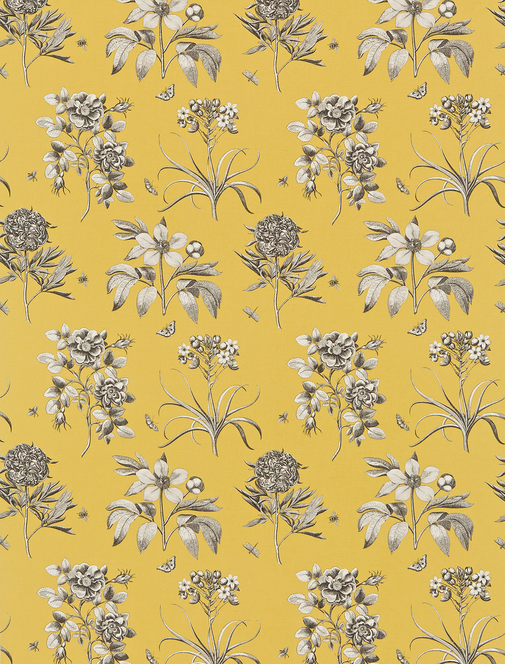 Etchings Amp Roses By Sanderson Yellow Wallpaper Direct