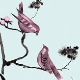 Louise Body Pavilion Birds Blue Pink / Pale Blue Wallpaper