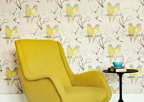 Belynda Sharples Budgie Yellow / Grey Wallpaper - Product code: AOW-BUDGIE 01