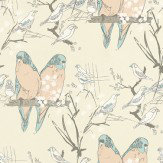 Belynda Sharples Budgie Blue / Peach Wallpaper - Product code: AOW-BUDGIE 02