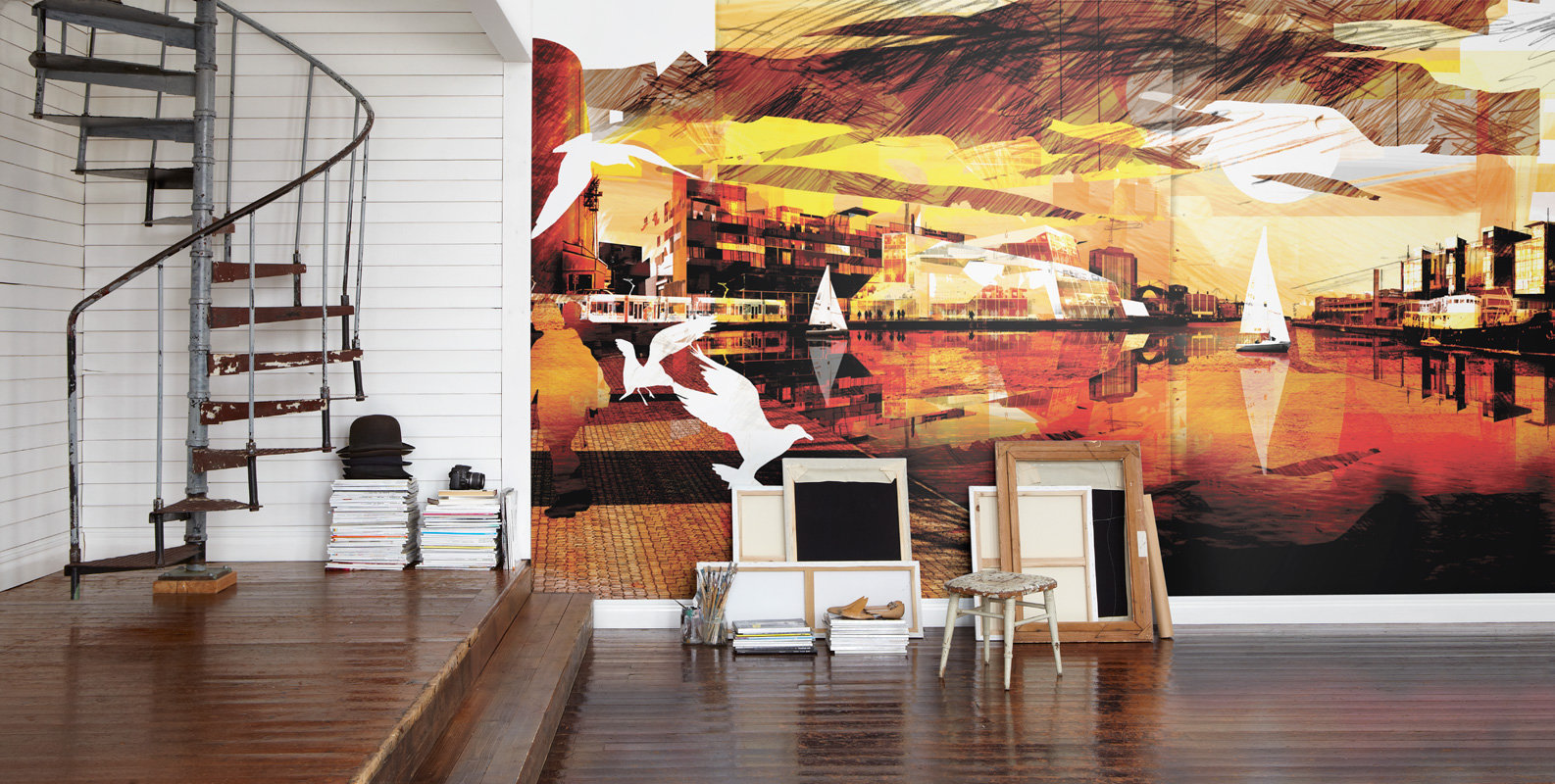 Mr Perswall Colourful Waterfront Mural - Product code: P151301-0