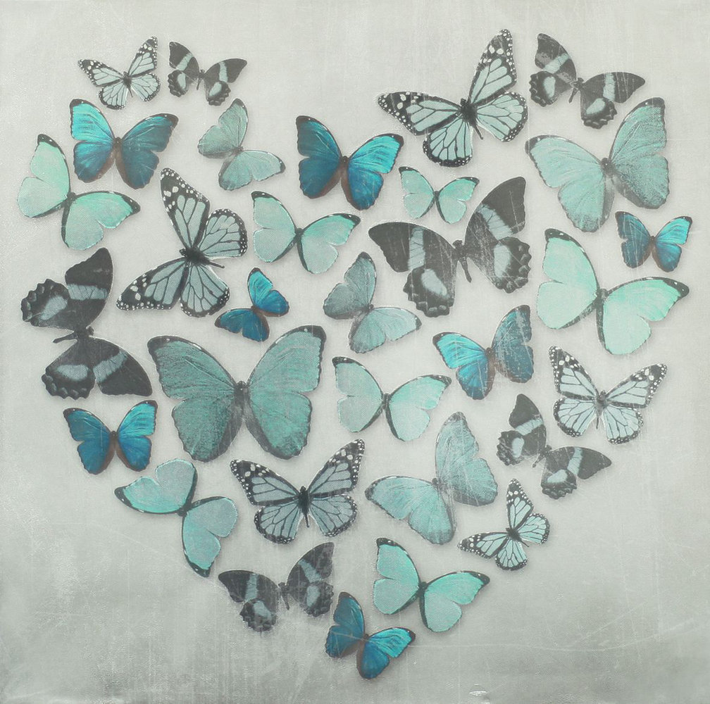 Butterfly Love Teal Superfoil Canvas by Arthouse : Wallpaper Direct