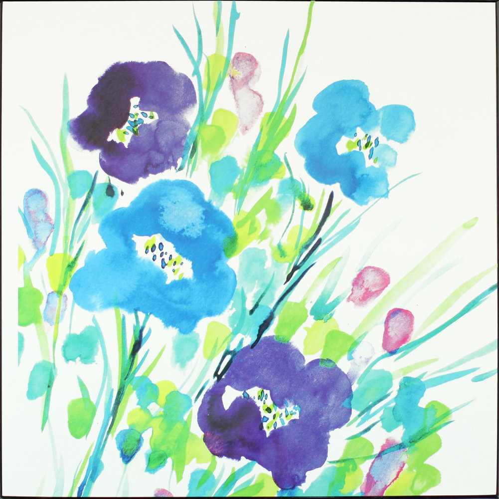 Flower Frenzy Aqua Lacquer Canvas By Arthouse Wallpaper