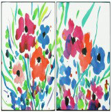 Arthouse Floral Cocktail Set of 2 Lacquer Canvases Art