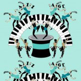 Art Decor Designs Jazz Age 02G Black / Blue Green Wallpaper