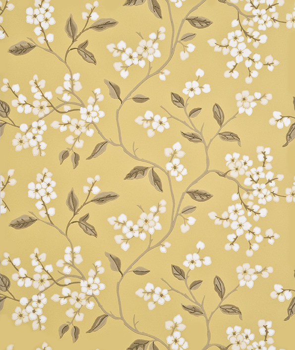 G P & J Baker Apple Blossom Yellow / Ivory  Wallpaper main image