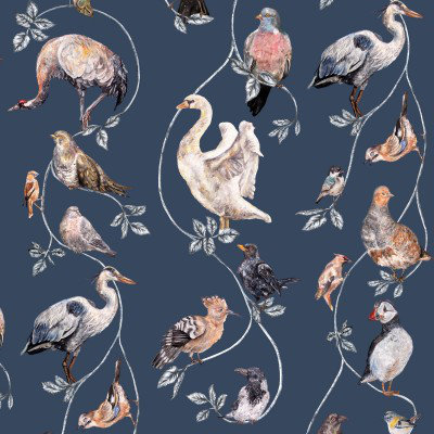 Image of House Of Hackney Wallpapers Flights of Fancy Pitch Blue, H207-4