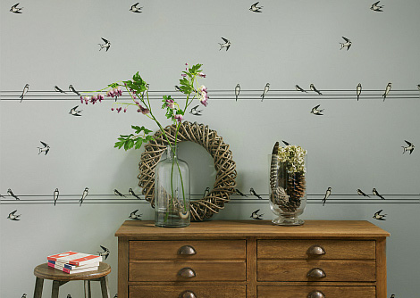 Hubbard and Reenie On a Wire - Sniff Sniff Grey Wallpaper - Product code: OAW3