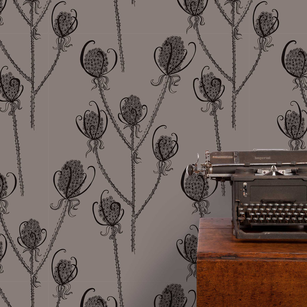 Teasels - Reenie Wallpaper - Black / Grey - by Hubbard and Reenie