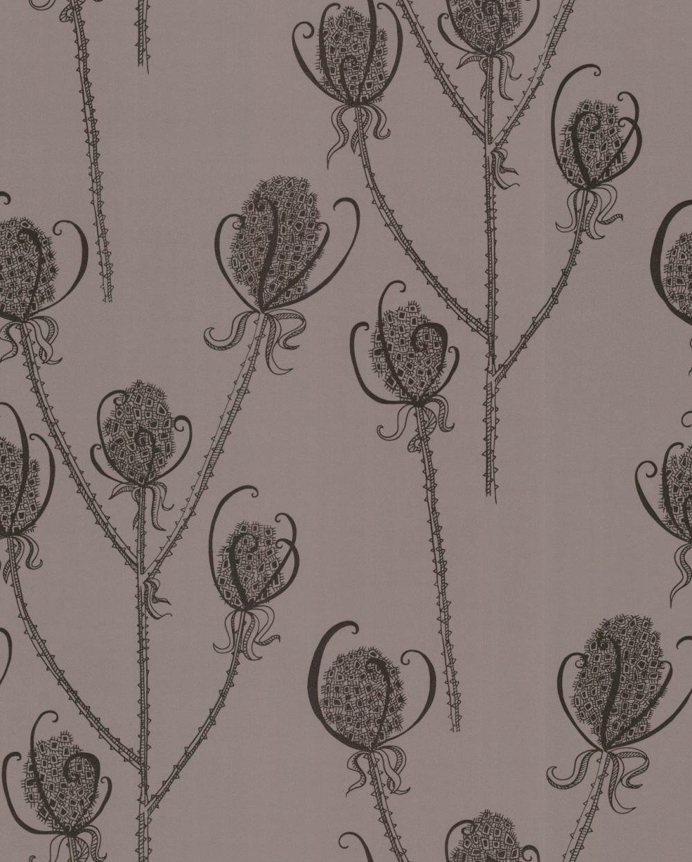 Hubbard and Reenie Teasels - Reenie Black / Grey Wallpaper - Product code: TSL4