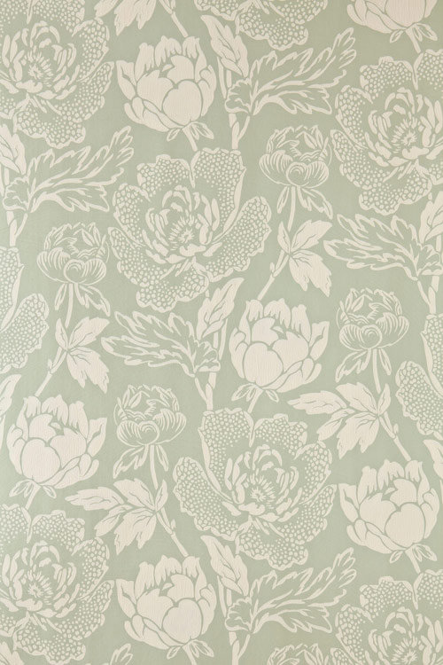 Peony Wallpaper - Cream / Duck Egg Green - by Farrow & Ball