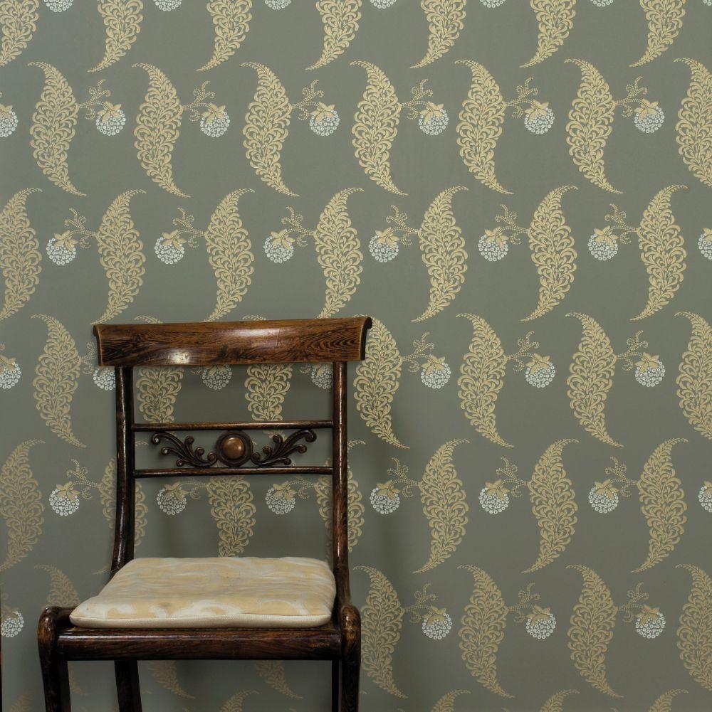 Rosslyn Wallpaper - Metallic Gold / Olive - by Farrow & Ball