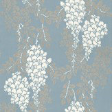 Farrow & Ball Wisteria White / Metallic Gilver / Blue Wallpaper - Product code: BP 2218