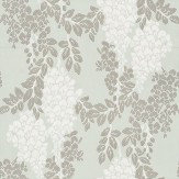 Farrow & Ball Wisteria White / Metallic Silver / Duck Egg Wallpaper - Product code: BP 2214