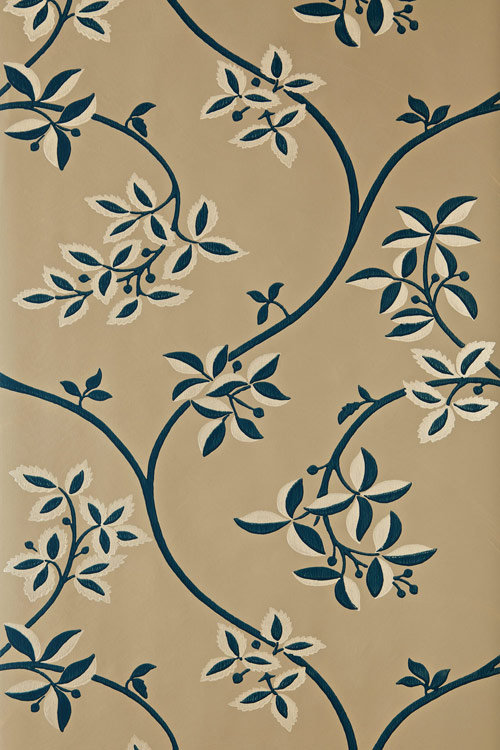 Farrow & Ball Ringwold Midnight Blue / Caramel Wallpaper - Product code: BP 1649