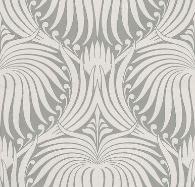 Lotus Wallpaper - White / Grey - by Farrow & Ball