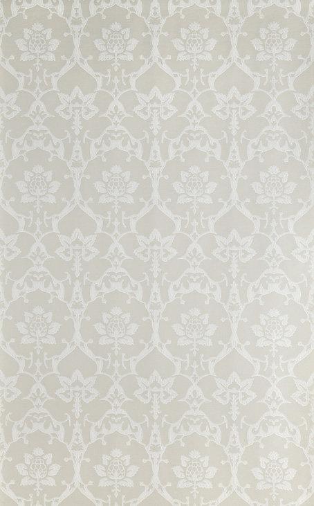 Farrow & Ball Brocade White / Soft Grey Wallpaper - Product code: BP 3203