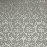 Farrow & Ball Brocade Metallic Silver / Sage Wallpaper