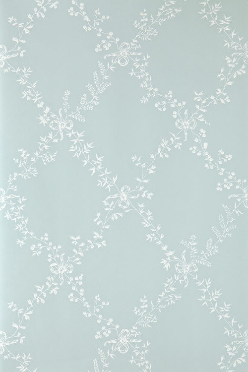 Farrow & Ball Toile Trellis White / Duck Egg Wallpaper - Product code: BP 669
