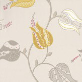 Osborne & Little Isfahan Tulip Brown / White / Yellow Wallpaper - Product code: W6490-01