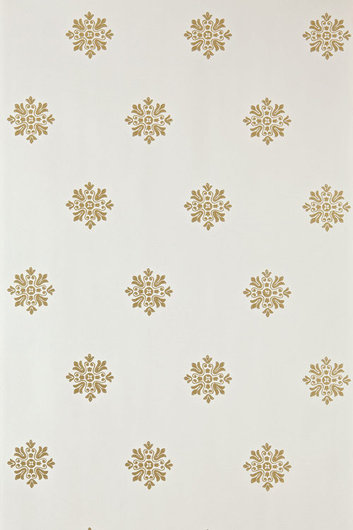 Brockhampton Star Wallpaper - Metallic Gold / Off White - by Farrow & Ball