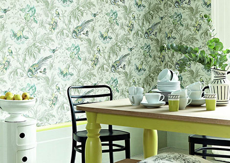 Little Greene Crowe Hall Lane Paradise Blue / Green / Grey Wallpaper