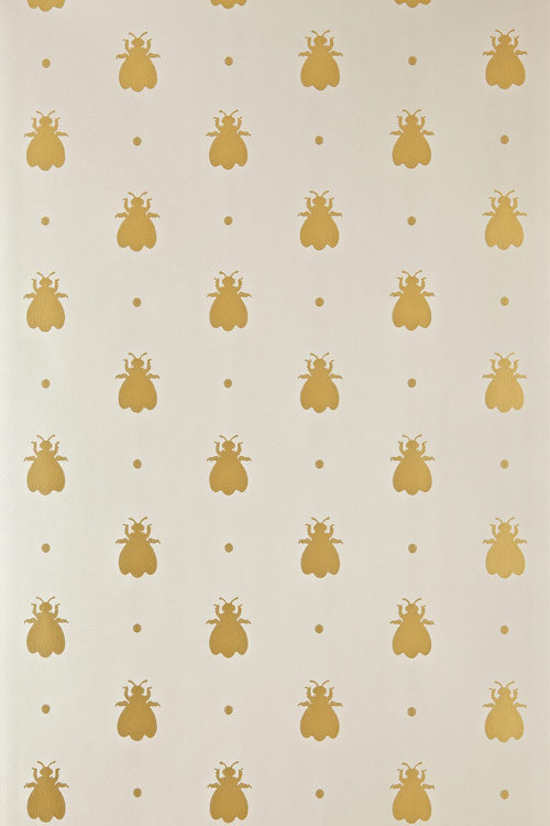Farrow & Ball Bumble Bee Metallic Gold / Light Grey Wallpaper - Product code: BP 525
