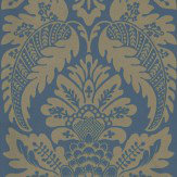 Little Greene Wilton Sovereign Metallic Gold / Blue Wallpaper
