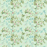 Sanderson Cherry Bough Duck Egg / Green / Pink Fabric