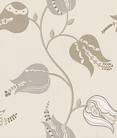 Osborne & Little Isfahan Tulip Silver / White / Gilver Wallpaper - Product code: W6490-03