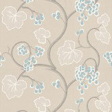 Osborne & Little Shiraz Linen / Turquoise / White Wallpaper - Product code: W6494-04