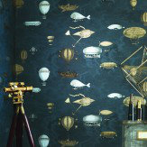 Cole & Son Macchine Volanti Silver / Bronze / Midnight Blue Wallpaper - Product code: 97/1002