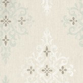 Nina Campbell Holmwood Aqua / White Wallpaper