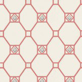 Nina Campbell Huntly Ivory / Coral / Silver Wallpaper