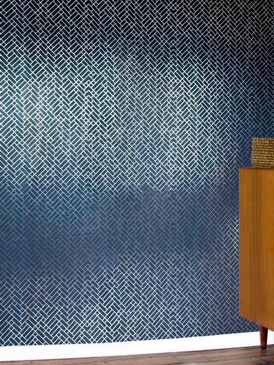 Erica Wakerly Tapet Cafe Tile Silver / Navy Wallpaper - Product code: TAP S/N