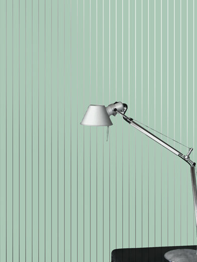 Erica Wakerly Pinstripe Green / Silver Wallpaper - Product code: PIN G/S