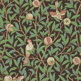Morris Bird & Pomegranate Green / Brown Wallpaper