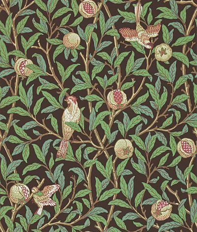 Morris Bird & Pomegranate Green / Brown Wallpaper - Product code: 212537