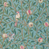 Morris Bird & Pomegranate Green / Metallic Teal Wallpaper - Product code: 212538