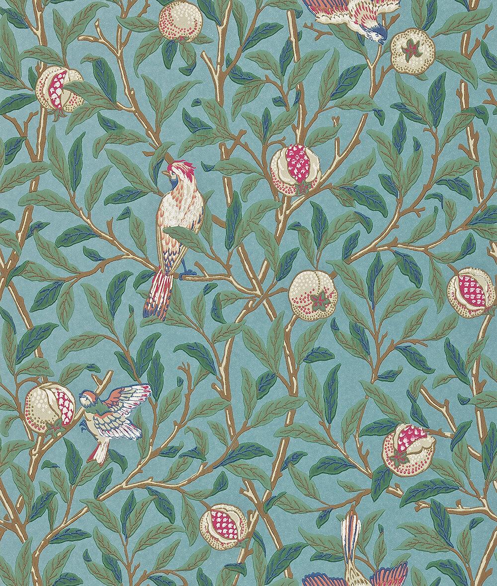 Morris Bird & Pomegranate Green / Metallic Teal Wallpaper - Product code: 212538