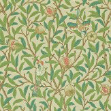 Morris Bird & Pomegranate Green / Parchment Wallpaper