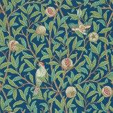 Morris Bird & Pomegranate Green / Blue Wallpaper