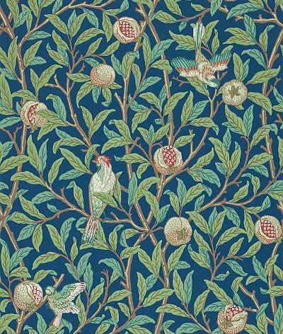 Morris Bird & Pomegranate Green / Blue Wallpaper - Product code: 212540