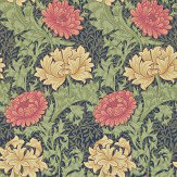 Morris Chrysanthemum Green / Blue / Red / Cream Wallpaper