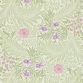 Morris Larkspur Pale Green / Pink / Lilac Wallpaper