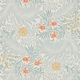 Morris Larkspur Grey / Yellow / Orange Wallpaper