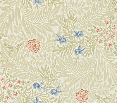 Morris Larkspur Stone / Pink / Blue Wallpaper main image